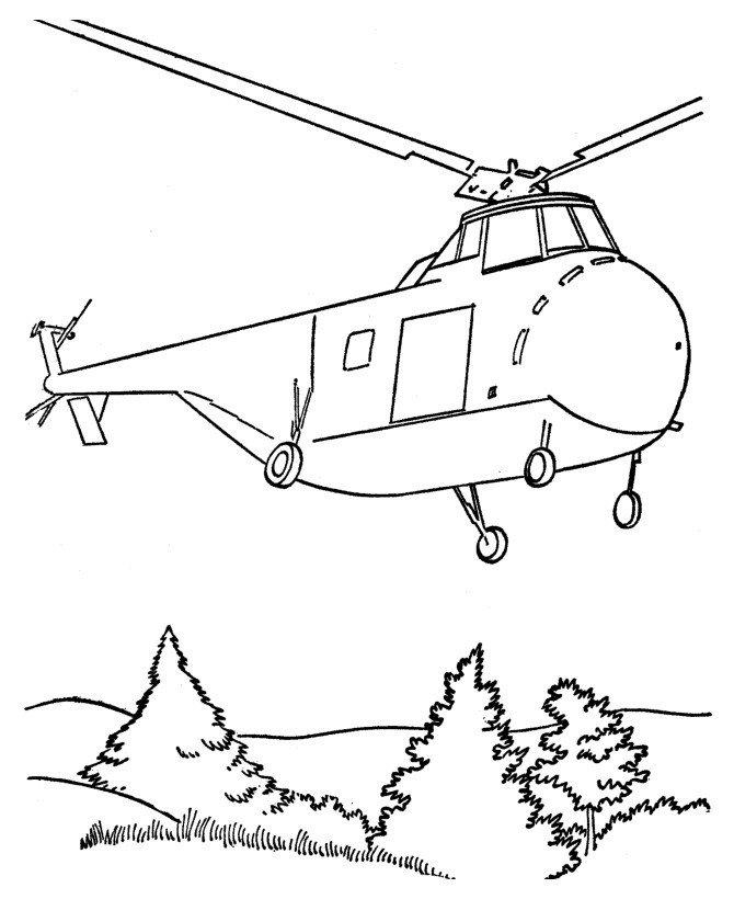 Вертолёт в подарок на 23 февраля - Картинка для раскрашивания красками-гуашью