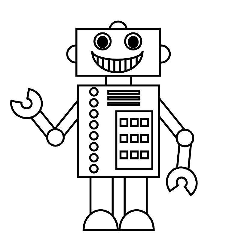 Картинка для раскраски «Веселый робот»