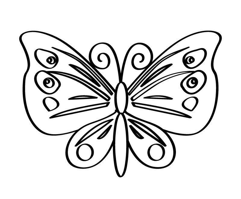 Весёлая бабочка - Картинка для раскрашивания красками-гуашью