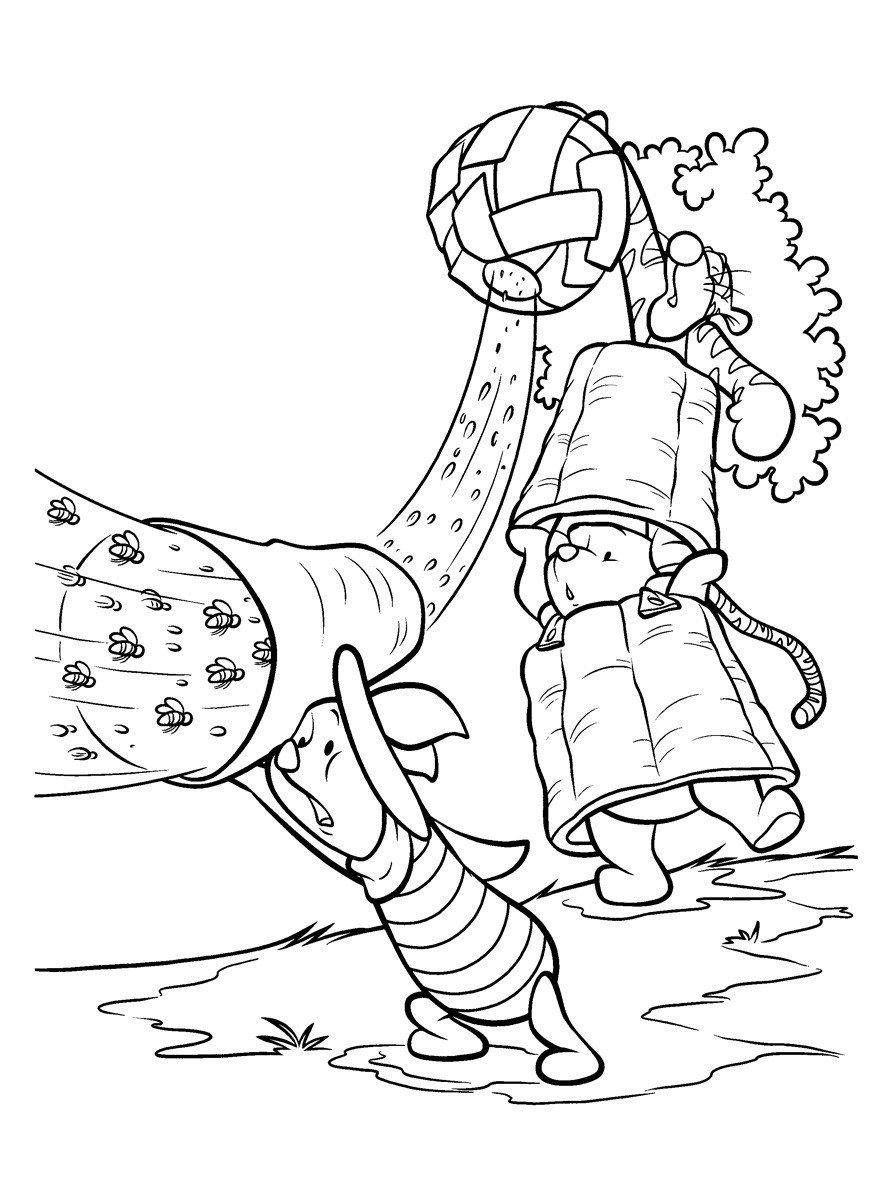 Винни-Пух и пчёлы - Картинка для раскрашивания красками-гуашью