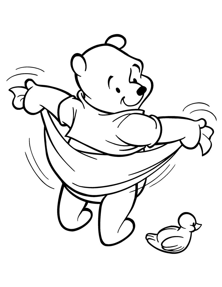 Картинка для раскраски «Винни Пух с полотенцем»