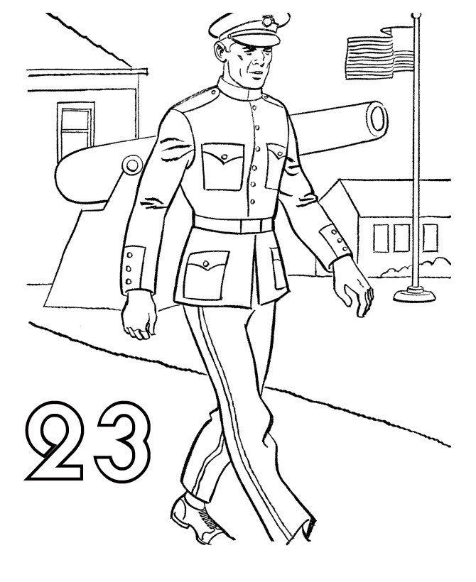 Военный в парадном мундире 23 февраля - Картинка для раскрашивания красками-гуашью