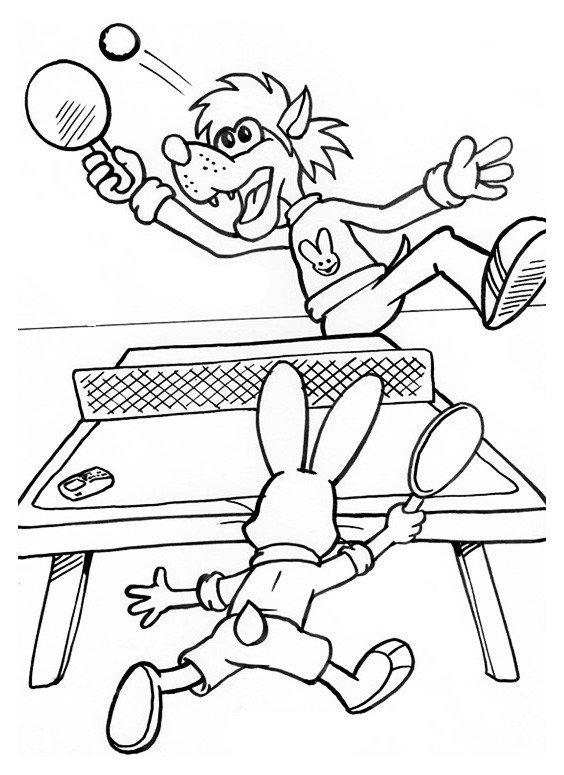 Волк и заяц играют в теннис - Картинка для раскрашивания красками-гуашью