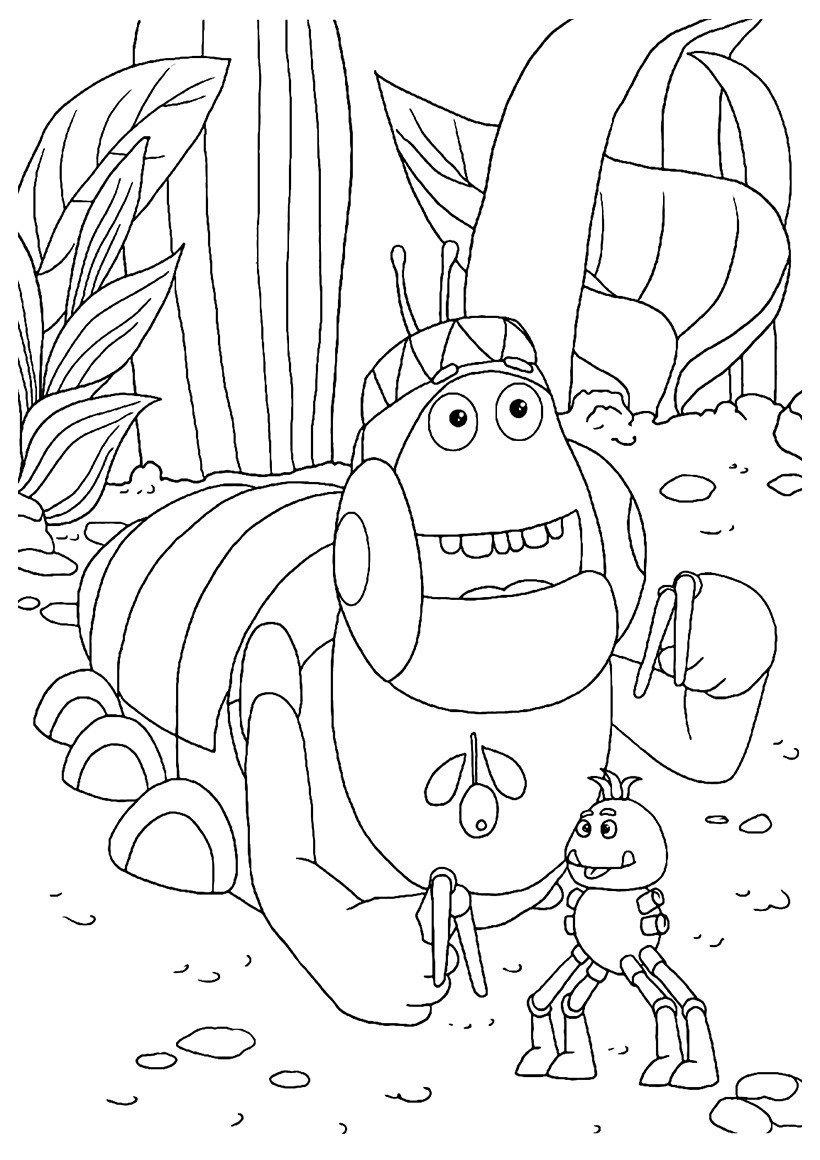 Картинка для раскраски «Вупсень с игрушкой»