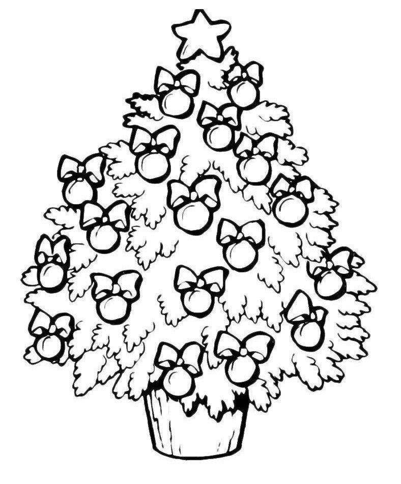 Картинка для раскраски «Яблочки на нарядной новогодней елке»