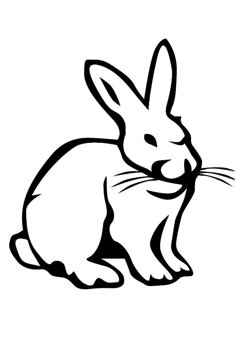 Заяц сидит на полянке - Картинка для раскрашивания красками-гуашью