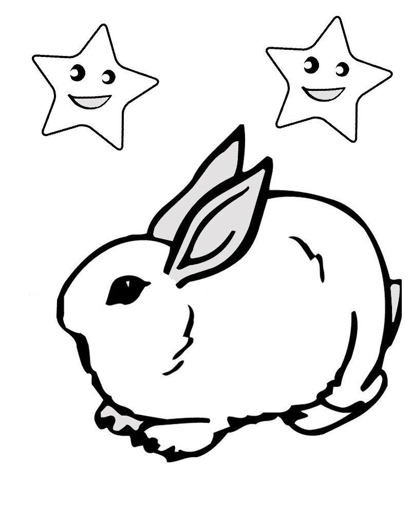 Заяц сидит под звездами - Картинка для раскрашивания красками-гуашью
