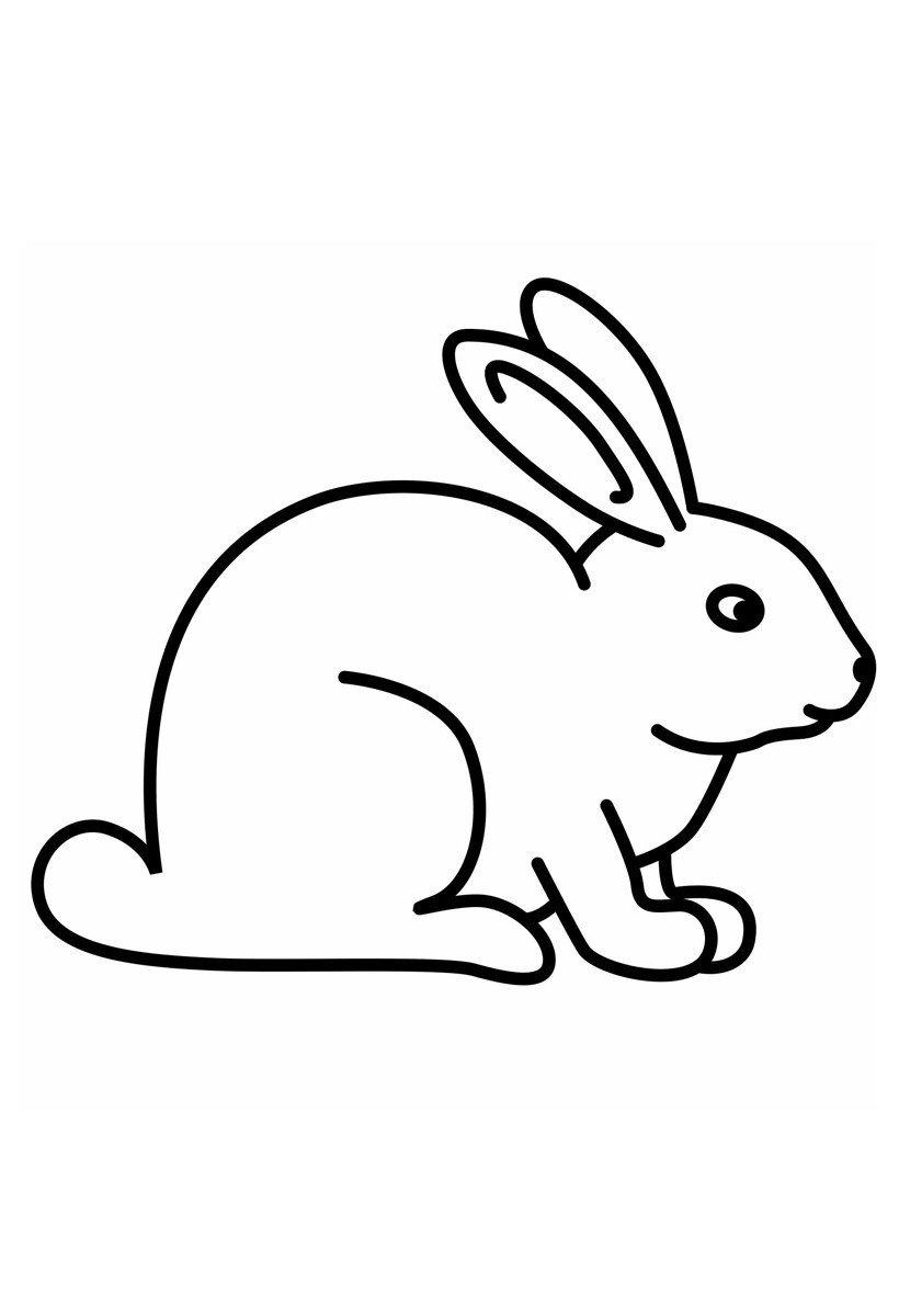 Зайчик - Картинка для раскрашивания красками-гуашью