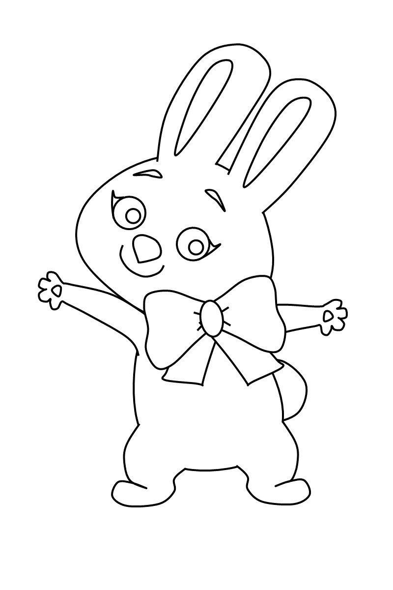 зайка (олимпийский талисман) - Картинка для раскрашивания красками-гуашью