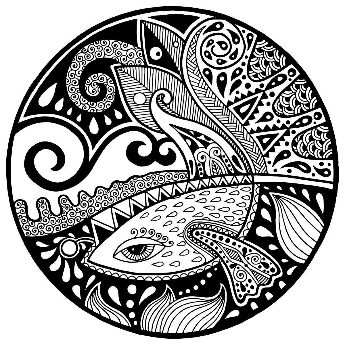 Зендала Русалка - Картинка для раскрашивания красками-гуашью