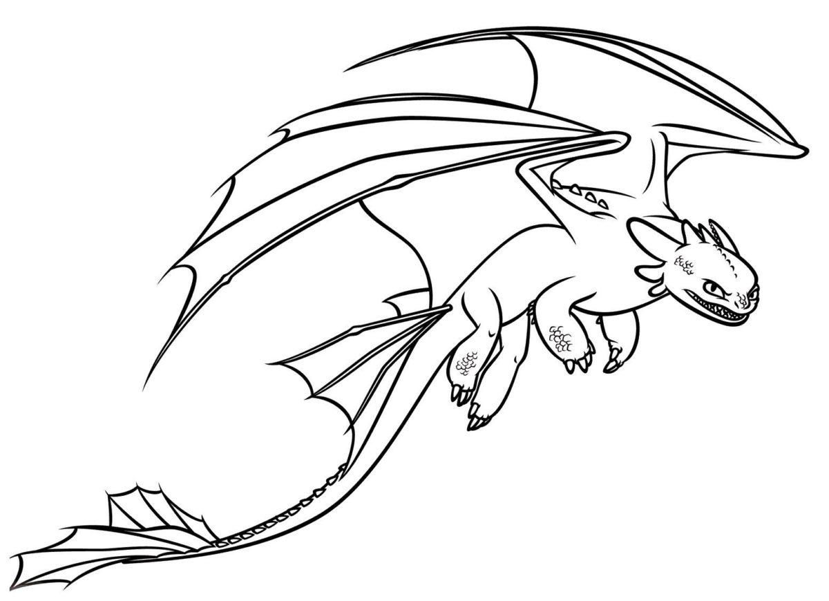 Злобный дракон - Картинка для раскрашивания красками-гуашью