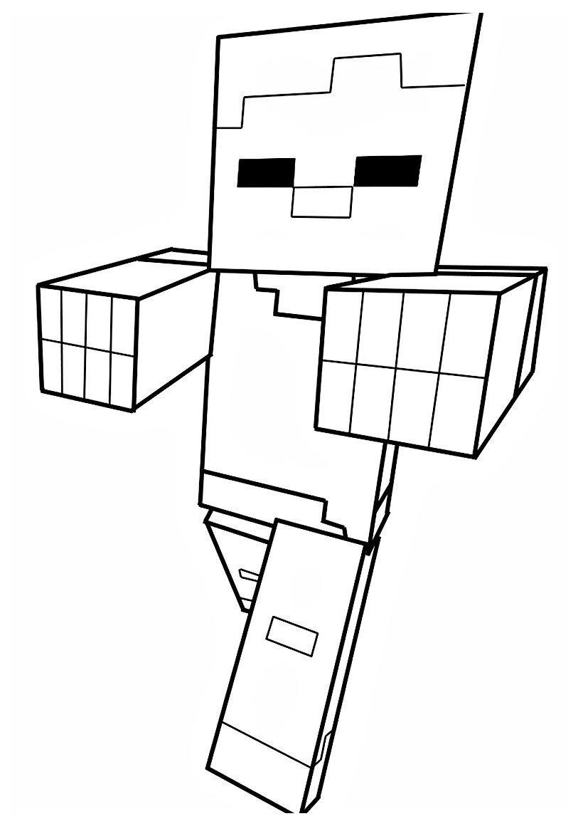 Зомби из Майнкрафт - Minecraft - Картинка для раскрашивания красками-гуашью
